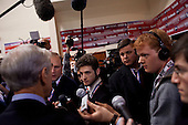 Manchester, New Hampshire<br /> January 5, 2008<br /> <br /> The spin room after the debates with first the Republicans and then the Democrats at Aselm College. <br /> <br /> Ron Paul, a Presidential hopeful, enters the room and speaks to the press.