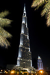 The Burj Khalifa, the world's tallest building at 829.8m at night. Dubai, United Arab Emirates. April 2013