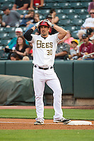 Matt Joyce (30) of the Salt Lake Bees stands at first base during the game against the Iowa Cubs in Pacific Coast League action at Smith's Ballpark on August 20, 2015 in Salt Lake City, Utah. The Cubs defeated the Bees 13-2.  (Stephen Smith/Four Seam Images)