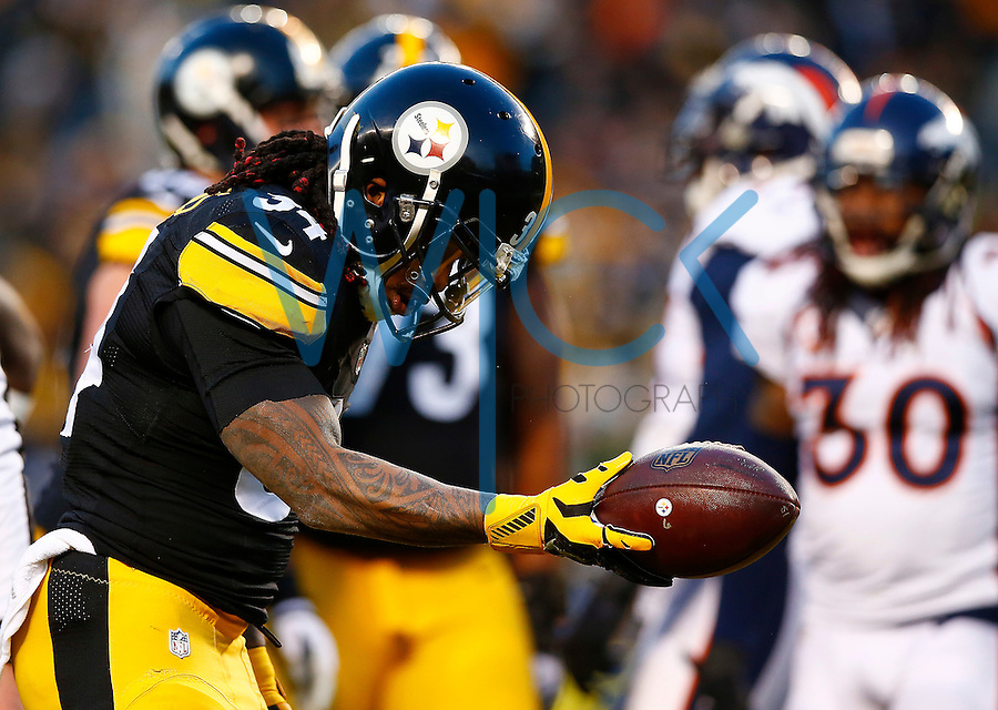 DeAngelo Williams #34 of the Pittsburgh Steelers celebrates his touchdown run in the first quarter against the Denver Broncos during the game at Heinz Field on December 20, 2015 in Pittsburgh, Pennsylvania. (Photo by Jared Wickerham/DKPittsburghSports)