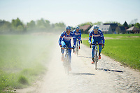 James Vanlandschoot (BEL/Wanty-GroupeGobert) & Laurens De Vreese (BEL/Wanty-GroupeGobert) in the dust of cobbled roads<br /> <br /> 2014 Paris-Roubaix reconnaissance