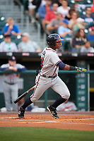 Gwinnett Braves left fielder Ronald Acuna (24) hits a single in the top of the first inning during a game against the Buffalo Bisons on August 19, 2017 at Coca-Cola Field in Buffalo, New York.  Gwinnett defeated Buffalo 1-0.  (Mike Janes/Four Seam Images)