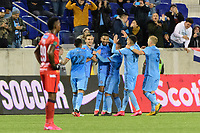 HARRISON, NJ - FEBRUARY 26: Alexander Callens #6 of NYCFC celebrates scoring with teammates during a game between AD San Carlos and NYCFC at Red Bull on February 26, 2020 in Harrison, New Jersey.