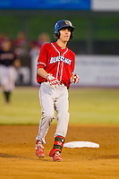 Carlos Tocci (16) of the Lakewood BlueClaws pulls up at second base with a double against the Kannapolis Intimidators at CMC-Northeast Stadium on August 13, 2013 in Kannapolis, North Carolina.  The Intimidators defeated the BlueClaws 12-8.  (Brian Westerholt/Four Seam Images)