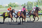Lexie Lou(14) with Jockey Patrick Husbands aboard runs to victory at the 155th Queen's Plate at Woodbine Race Course in Toronto, Canada on July 06, 2014.