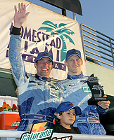 Max Papis and Jorg Bergmeister, 3rd place overall at the Grand Prix od Miami at Homestead-Miami Speedway on Saturday, March 5, 2005.(Grand American Road Racing Photo by Brian Cleary)