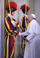 Pope Francis South Korean President Park Geun-hye meeting in the Paul VI hall at the Vatican, on October 17, 2014