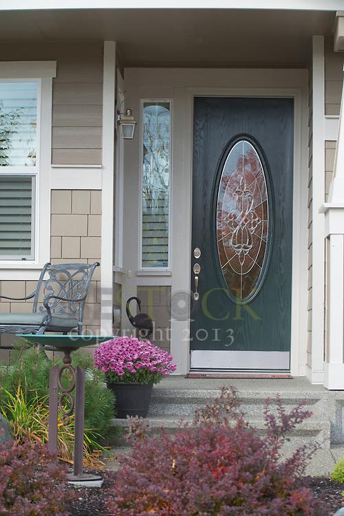 Dark Green Front Door with a window