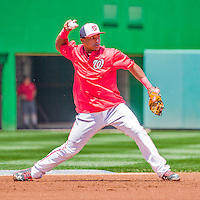 23 May 2015: Washington Nationals infielder Wilmer Difo takes infield drills prior to a game against the Philadelphia Phillies at Nationals Park in Washington, DC. The Phillies defeated the Nationals 8-1 in the second game of their 3-game weekend series. Mandatory Credit: Ed Wolfstein Photo *** RAW (NEF) Image File Available ***