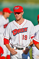 Nick Flair (19) of the Orem Owlz before the game against the Ogden Raptors in Pioneer League action at Home of the Owlz on June 25, 2016 in Orem, Utah. Orem defeated Ogden 4-1.  (Stephen Smith/Four Seam Images)