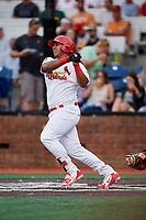 Johnson City Cardinals first baseman Leandro Cedeno (5) follows through on a swing during a game against the Danville Braves on July 28, 2018 at TVA Credit Union Ballpark in Johnson City, Tennessee.  Danville defeated Johnson City 7-4.  (Mike Janes/Four Seam Images)
