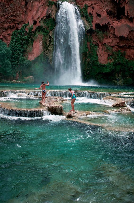 Girls wading in pool at Havisu Falls, Arizona
