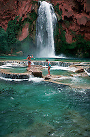 Girls wading in pool at Havisu Falls, Arizona
