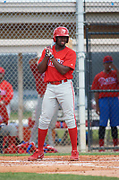 GCL Phillies third baseman D.J. Stewart (10) at bat during a game against the GCL Tigers East on July 25, 2017 at TigerTown in Lakeland, Florida.  GCL Phillies defeated the GCL Tigers East 4-1.  (Mike Janes/Four Seam Images)