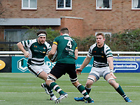 Ealing's Will Davis (L) and Kieran Murphy (R) face Nottingham's Tom Holmes during the Greene King IPA Championship match between Ealing Trailfinders and Nottingham Rugby at Castle Bar , West Ealing , England  on 18 March 2017. Photo by Carlton Myrie/PRiME Media Images.