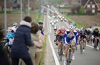 early in the race: Pim Ligthart (NLD/Lotto-Belisol) speeding up a bridge (behind a Topsport Vlaanderen rider) in the hopes of getting into an early breakaway<br /> <br /> Ronde van Vlaanderen 2014