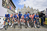 Team italia at the start in Antwerp<br /> <br /> U23 - Road Race (WC)<br /> race from Antwerp to Leuven (161.1km)<br /> <br /> UCI Road World Championships - Flanders Belgium 2021<br /> <br /> ©kramon