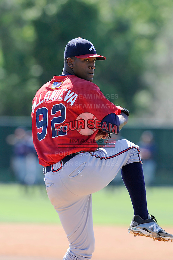Pitcher Dail Villanueva (92) of the Atlanta Braves farm system in a Minor League Spring Training workout on Monday, March 16, 2015, at the ESPN Wide World of Sports Complex in Lake Buena Vista, Florida. (Tom Priddy/Four Seam Images)