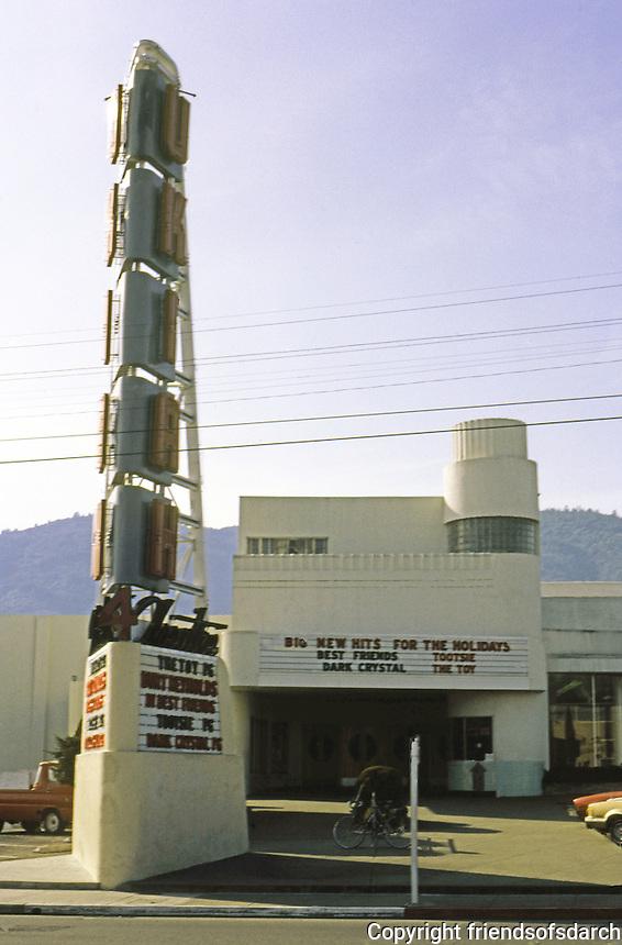 Movie Theatre: Ukiah Theatre, c. 1935. Sign & building behind. Photo '83.