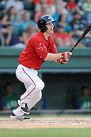 Center fielder Danny Mars (12) of the Greenville Drive bats in a game against the Lexington Legends on Friday, August 29, 2014, at Fluor Field at the West End in Greenville, South Carolina. Mars is a sixth-round pick of the Boston red Sox in the 2014 First-Year Player Draft out of Chipola College. Greenville won, 6-1. (Tom Priddy/Four Seam Images)