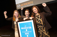 The SVP Fast Pitch Seattle competition held in McCaw Hall on Oct. 23, 2014. <br /> Invest Next Door won the  Outerwall/Points of Light Civic Venture Award of $10,000 for Established Nonprofit. (photo by Karen Ducey/ KarenDucey.com)