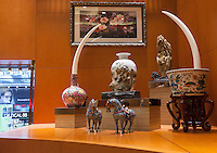 A pair of ivory tusks worth HK$4.25 million (GBP336,000.00) are seen on sale in 'Chinese Arts & Crafts', Hong Kong, China, 29 November 2013. <br /> <br /> Photo by Alex Hofford / Sinopix