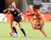 HOUSTON, TX - SEPTEMBER 10: Katie Johnson #33 of the Chicago Red Stars and Sophie Schmidt #13 of the Houston Dash battle for control of the ball as Nichelle Prince #8 closes in during a game between Chicago Red Stars and Houston Dash at BBVA Stadium on September 10, 2021 in Houston, Texas.
