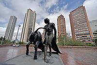 BOGOTÁ - COLOMBIA, 28-08-2017: Estatua de Pepe Caceres en la Plaza de Toros La Santamaría en Bogotá, Colombia. / Pepe Caceres monument at La Santamaria Bullring in Bogota, Colombia. Photo: VizzorImage/ Gabriel Aponte / Staff
