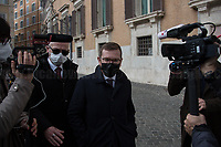 Rome, Italy. 09th Feb, 2021. Giuseppe Provenzano MP, former Minister for Southern Italy and member of the Partito Democratico PD), arrives at the Italian Parliament. Today, the designated Italian Prime Minister - and former President of the European Central Bank -, Mario Draghi, held his the last day of consultations at Palazzo Montecitorio, meeting delegations of the Italian political parties in his attempt to form the new Italian Government.