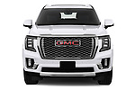 Car photography straight front view of a 2021 GMC Yukon-XL Denali 5 Door SUV Front View