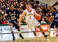 22 December 2012: University of Vermont Catamount forward Brian Voelkel, a Junior from Pleasantville, NY, in action against the University of Fairleigh Dickinson Knights at Patrick Gymnasium in Burlington, Vermont. The Catamounts defeated the Knights 76-62 in non-conference men's basketball action and notching their 7th win of the season. Mandatory Credit: Ed Wolfstein Photo