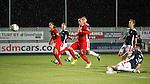 Bilel Mohsni znd Kris Boyd watch on with interest as Owain Tudur Jones turns the ball into his own net for a Rangers equaliser