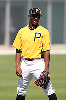 Pittsburgh Pirates outfielder Mel Rojas Jr #37 during practice before an Instructional League game against the Philadelphia Phillies at Pirate City on October 11, 2011 in Bradenton, Florida.  (Mike Janes/Four Seam Images)