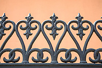 French Quarter, New Orleans, Louisiana.  Cast-iron Railings of the Gauche Villa, Built 1856.  Ironwork produced in Saarbrucken, Germany.