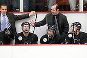 Ryan Soderquist (Bentley - Head Coach), Ben Murphy (Bentley - Assistant Coach) - The Harvard University Crimson defeated the visiting Bentley University Falcons 5-0 on Saturday, October 27, 2012, at Bright Hockey Center in Boston, Massachusetts.