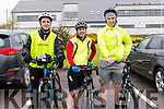 Chris Walsh, John Paul O'Gorman and Barry Hurley at the start of the Dingle Peninsula Cycling Challenge on Saturday morning.