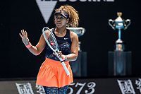 16th February 2021, Melbourne, Victoria, Australia; Naomi Osaka of Japan apologies for a wayward return of the ball after an umpire call during the quarterfinals of the 2021 Australian Open on February 16 2021, at Melbourne Park in Melbourne, Australia.