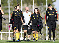 20190228 - LARNACA , CYPRUS : Belgian Maud Coutereels , Davina Philtjens and Nicky Evrard pictured during a Matchday -1 training from The Belgian Red Flames prior to their game against the women team of Austria , on Thursday 28 February 2019 at the Alpha Sports Grounds in Larnaca , Cyprus . This will be the second game in group C for Belgium during the Cyprus Womens Cup 2019 , a prestigious women soccer tournament as a preparation on the European Championship 2021 qualification duels. PHOTO SPORTPIX.BE | DAVID CATRY