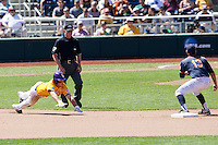 LSU Tigers shortstop Alex Bregman (8) slides into second base during the NCAA College baseball World Series against the Cal State Fullerton on June 16, 2015 at TD Ameritrade Park in Omaha, Nebraska. LSU defeated Fullerton 5-3. (Andrew Woolley/Four Seam Images)