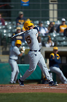 Vince Ippoliti (45) of the West Virginia Mountaineers follows through on his swing against the Illinois Fighting Illini at TicketReturn.com Field at Pelicans Ballpark on February 23, 2020 in Myrtle Beach, South Carolina. The Fighting Illini defeated the Mountaineers 2-1.  (Brian Westerholt/Four Seam Images)