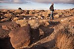 Rock-lined path at Grimes Point rock art site, ancient shore of Lake Lahontan in the Great Basin, Nev.