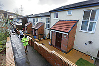 Pictured:  Workers repair a damaged retaining wall. Thursday 20 February 2020<br /> Re: Jeremy Corbyn, the leader of the Labour Party visits the area of Rhydyfelin near Pontypridd, south Wales, UK.
