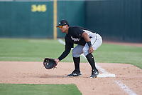 Chicago White Sox first baseman Harvin Mendoza (23) during an Instructional League game against the Oakland Athletics at Lew Wolff Training Complex on October 5, 2018 in Mesa, Arizona. (Zachary Lucy/Four Seam Images)