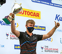 30th August 2020; Knockhill Racing Circuit, Fife, Scotland; Kwik Fit British Touring Car Championship, Knockhill, Race Day; A BMW technician holds up the trophy for winning manufacturers trophy after round 12 of the BTCC