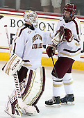 Brian Billett (BC - 1), Kevin Hayes (BC - 12) - The Boston College Eagles defeated the visiting University of Wisconsin Badgers 9-2 on Friday, October 18, 2013, at Kelley Rink in Conte Forum in Chestnut Hill, Massachusetts.