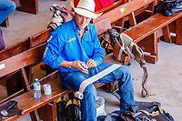 Usa,Wyoming, Cheyenne,riders cowboys prepare themselves to the competitiion  at Frontier days 2017