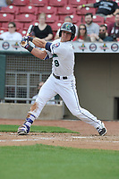 Cedar Rapids Kernels designated hitter Ben Rortvedt (9) swings during a game against the Beloit Snappers at Veterans Memorial Stadium on April 9, 2017 in Cedar Rapids, Iowa.  The Kernels won 6-1.  (Dennis Hubbard/Four Seam Images)