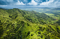 An aerial view of lush hiking trails through Kaua'i.