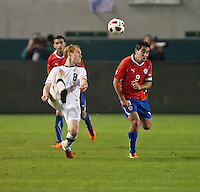 CARSON, CA – JANUARY 22: USA midfielder Jeff Larentowicz (8) passes backward during the international friendly match between USA and Chile at the Home Depot Center, January 22, 2011 in Carson, California. Final score USA 1, Chile 1.