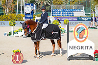 GBR-Holly Smith rides Fruselli during the Negrita Cup Prizegiving. Final-1st. 2021 ESP-Longines FEI Jumping Nations Cup Final. Real Club de Polo, Barcelona. Spain. Friday 1 October 2021. Copyright Photo: Libby Law Photography